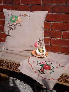 Embroidered table runnervintage by BohemianBlessed on Etsy