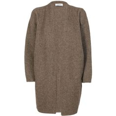 Maxi Cardigan (24.525 RUB) ❤ liked on Polyvore featuring tops, cardigans, taupe, maxi tops, brown cardi, brown long sleeve top, long sleeve cardigan and brown top