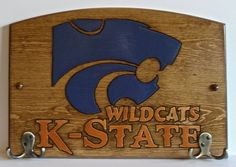 Kansas State  Handcrafted Wood Plaque with Hooks  by TeamPlaques4U, $32.95