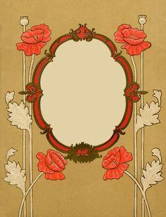 Art Nouveau Poppies Frame ~ LÁMINAS ANTIGUAS 3-Ideas y Trabajos terminados (pág. 803) | Aprender manualidades es facilisimo.com