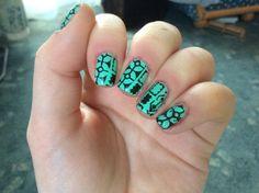 Mint chocolate #turquoise #abstract #nails #nailart - bellashoot.com