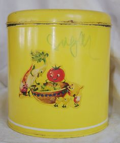 Vintage 1940s Yellow Kitchen Tin w/ Vegetable by soldiersuzanne, $15.00