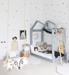 A creative mom created this indoor play area/gallery, complete with a swing, in a room near her LA based studio. Love this!/ houselogic.com