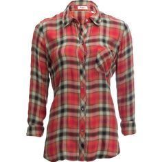 Dylan Cassidy Rayon Plaid 1 Pocket Shirt - Long-Sleeve ($106) ❤ liked on Polyvore featuring tops, long sleeve shirts, red long sleeve top, long sleeve button down shirts, pocket shirts and button down shirts