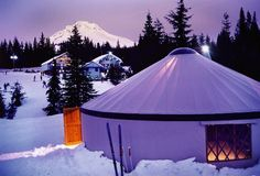 The yurts are very resource efficient, providing a maximum amount of enclosed space while using a minimal amount of material as compared to standard construction. The yurt and platform can be removed leaving virtually no trace...