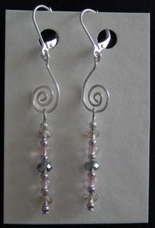 Earrings - crystal and glass with 925 silver-plated findings, nickel free hooks Crystal Earrings, Drop Earrings, Sea Glass, Belly Button Rings, 925 Silver, Hooks, Silver Plate, Glass Beads, Crystals