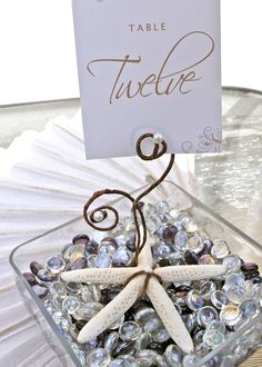 12 Pearl Starfish Beach Table Number Holder by ExpressionsFloral, $87.00