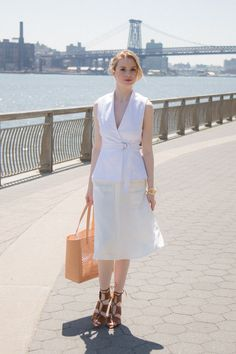 White vest + lace up heels | keatonrow.com