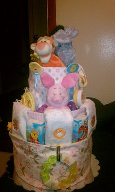 Baby girl winnie the pooh diaper cake
