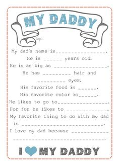 Kids say the darndest things! Cute idea for fathers day. Free Father's Day Questionnaire Printable