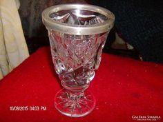 Gyonyoru ezust es kristaly pokal/pohar 1860-bol ir szarmazas Mason Jar Wine Glass, Shot Glass, Tableware, Places, Dinnerware, Dishes, Shot Glasses, Place Settings, Lugares