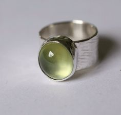Green Prehnite Ring in Sterling Silver Wide Band by SilverSpiral1, $89.00
