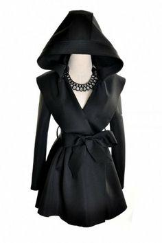 Promithi Womens Fold Windbreaker Hooded Jacket Long Trench Coat Outwear