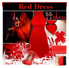 """""""Red Dress"""" by yours-styling-best-friend ❤ liked on Polyvore featuring Charlotte Olympia, Tech Candy, Lagom, Dents, Erickson Beamon, PolyvoreTrendReport, rainbowdaystwo and redweektwo"""
