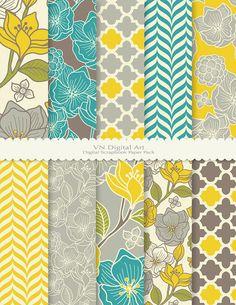 """Digitales Papier, florale Muster Digital Scrapbook Papier Pack (8.5 x 11 """"-300 dpi)--Instant Download--10 Digital Papiere--473"""