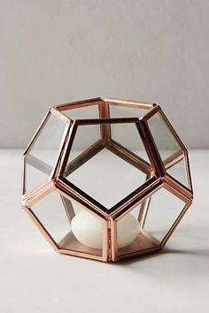 Metalwork Hurricane by Anthropologie in Rose Gold Size: Home Decor Trends, Home Decor Items, Home Decor Accessories, Decorative Accessories, Decorative Accents, Navy And Copper, Copper Rose, Rose Gold, Candle Jars