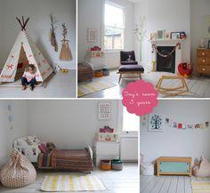Nursery & Kids Room Interior Design Blog | Room to Bloom | Girl's white bedroom with pops of colour