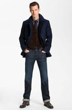 HUGO double breasted Peacoat, John Varvatos Star USA Vest, Sport Shirt & Straight Leg Jeans | Nordstrom