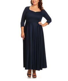 Navy Three-Quarter Sleeve Maxi Dress - Plus