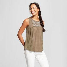 Women's Contrast Embroidered Tank - Knox Rose™ Olive : Target