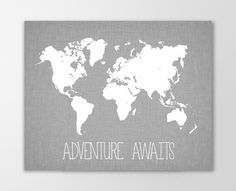 Adventure Awaits World Map Canvas Art Print - Nursery Decor Canvas - Stretched Gallery Wrapped Canvas Wall Art - SKU: 627C-G