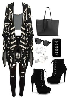 """Untitled #65"" by alaska-dafne ❤ liked on Polyvore featuring River Island, Monki, Yves Saint Laurent and CLUSE"