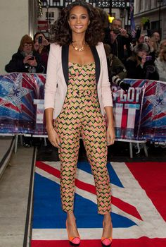 I like the jumpsuit only... Not feeling the blazer or shoes. She should have a basic patent leather pointy toe heel & no blazer since the jumpsuit's print is busy enough