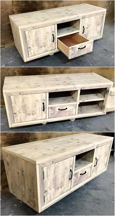 Do you already have ideas for your weekend project? How about replacing your old TV stand with a new one? Check out these 11 very different, but incredible DIY TV stand project ideas that step you through building a terrific media console. Diy Furniture Chair, Wood Pallet Furniture, Unique Furniture, Industrial Furniture, Furniture Projects, Rustic Furniture, Wood Pallets, Furniture Websites, Furniture Dolly