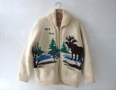 Cowichan Sweater / 50s sweater / cardigan sweater / moose sweater