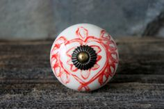 extra large ceramic red and white heart knob // by umbrellafant