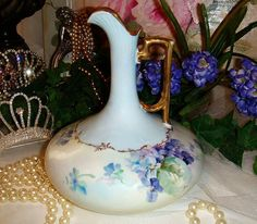 Lovely - Austria - Austrian - Pitcher - Ewer - Hand Painted - Romantic Bouquets - African Violets - Coin Gold Accents - Circa 1908 - Only Fine Lines
