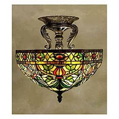 @Overstock - Fixture features colorful hand-blown art glass in a classic Tiffany-inspired design  Light displays colors of green, red, white and brown  Ceiling lamp will dress up any room in your home or officehttp://www.overstock.com/Home-Garden/Tiffany-style-Victorian-Stained-Glass-Ceiling-Lamp/3740146/product.html?CID=214117 $152.99