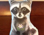 Baby Raccoon and Flowers Stuffed Toy Pillow - Vincent Desjardins