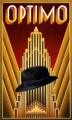 'Optimo' by Nick Gaetano / Illustration / Posters Art Deco Artwork, Art Deco Posters, Art Nouveau, Fabian Perez, Art Deco Illustration, Japanese Artists, Art Deco Design, Art Deco Fashion, Art Boards