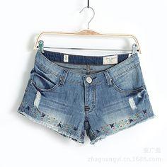 Blue Bleached Ripped Embroidery Fringe Denim Shorts - Sheinside.com