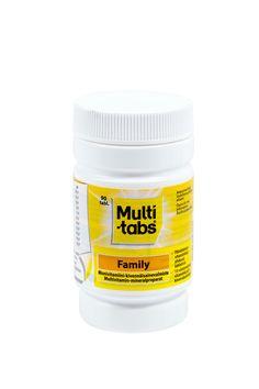 Multi-tabs Family 90 tablettia, 8,20 €. Nieltävä monivitamiini-kivennäisainetabletti aikuisille ja yli 7-vuotiaille lapsille. Norm. 11,89 €.  APTEEKKI TÖÖLÖ, E-TASO
