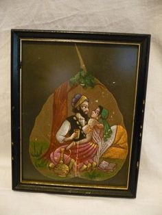 """#4264/5/6-Far eastern hand painted scene on pipal tree leaf-size 8.00"""" x 10.00""""--- - http://get.sm/oK8quYE #tradebank Arts"""