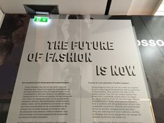 Museum Boijmans van Beuningen Rotterdam - The Future of Fashion is Now  11 oktober 2014 t/m 18 januari 2015