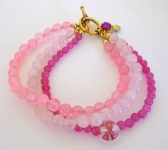 Breast Cancer Awareness Bracelet Four by 2silverwoodstudio on Etsy, $25.00