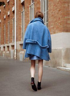 blue coat, bare legs