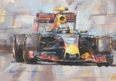 """Miracle Max"", Max Verstappen, Red Bull RB12. Oil on watercolour paper, 11""x8"". By Dan Binns."