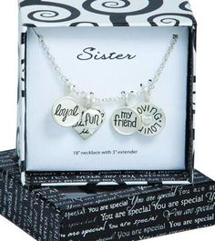 """18""""L w/3"""" extender PENDANT: 1""""L Fashion Jewelry  4 Hearts stating: My Sister Is Loyal My Friend Loving - $18.50"""