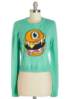 Flying Burger People Eater Sweater. It had two big fangs and one big eye - and it came from the sky to lend monstrous charm to this soft sweater!  #modcloth