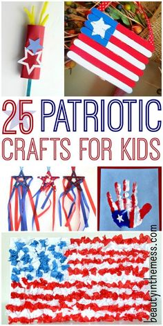 25 Patriotic Crafts for Kids.  Whether you are looking for crafts to do as part of a unit study or you are just looking for ideas to do the weeks leading up to the 4th of July, I've got you covered. Your kids {or grandkids} will have so much fun doing these activities with you.