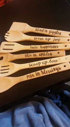 Kitchen wood set with Holder. Holder can be wood burned with family initials…