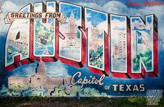 ustin Postcard Mural  Located on the side of the Roadhouse Relics building on South 1st street and Annie, this iconic, vintage looking Austin mural is a great tourist photo opp or an engagement photo shoot favorite.