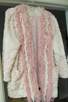 Chenille jacket made from vintage bedspread and edged with fringe.....also from the spread.....throw nothing away !   SOLD