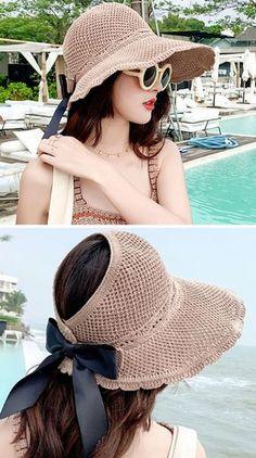 Sweet Hollow Bow-Knot Summer Sun Hat - Her Crochet Mode Crochet, Crochet Diy, Crochet Girls, Crochet Summer Hats, Crochet Hats, Sombrero A Crochet, Summer Hats For Women, Crochet Clothes, Street Style Women