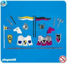 Playmobil Jousting Equipment by Playmobil USA Inc. $216.19. for 2 Knights. Only for new style Horses.  Please Note: This item is part of the Direct Service range. This particular range of products are intended as accessories and / or additions to existing Playmobil sets. For this reason these items come in clear plastic bags or brown cardboard boxes instead of a colorful blue retail box.