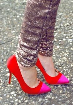 #Red & #Fuchsia #Colorblock #Satin #Pumps